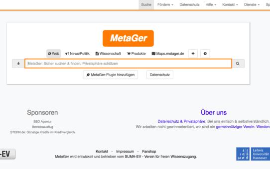 MetaGer - Suchmaschine aus Deutschland